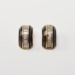 Dior Black and Crystal Huggies Earrings // Vintage